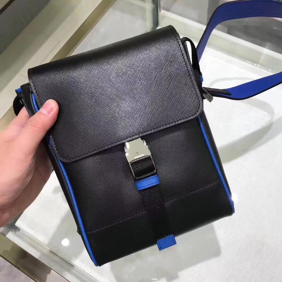 Replica Prada Men Saffiano Leather Shoulder Bag Black and Blue 2VD019