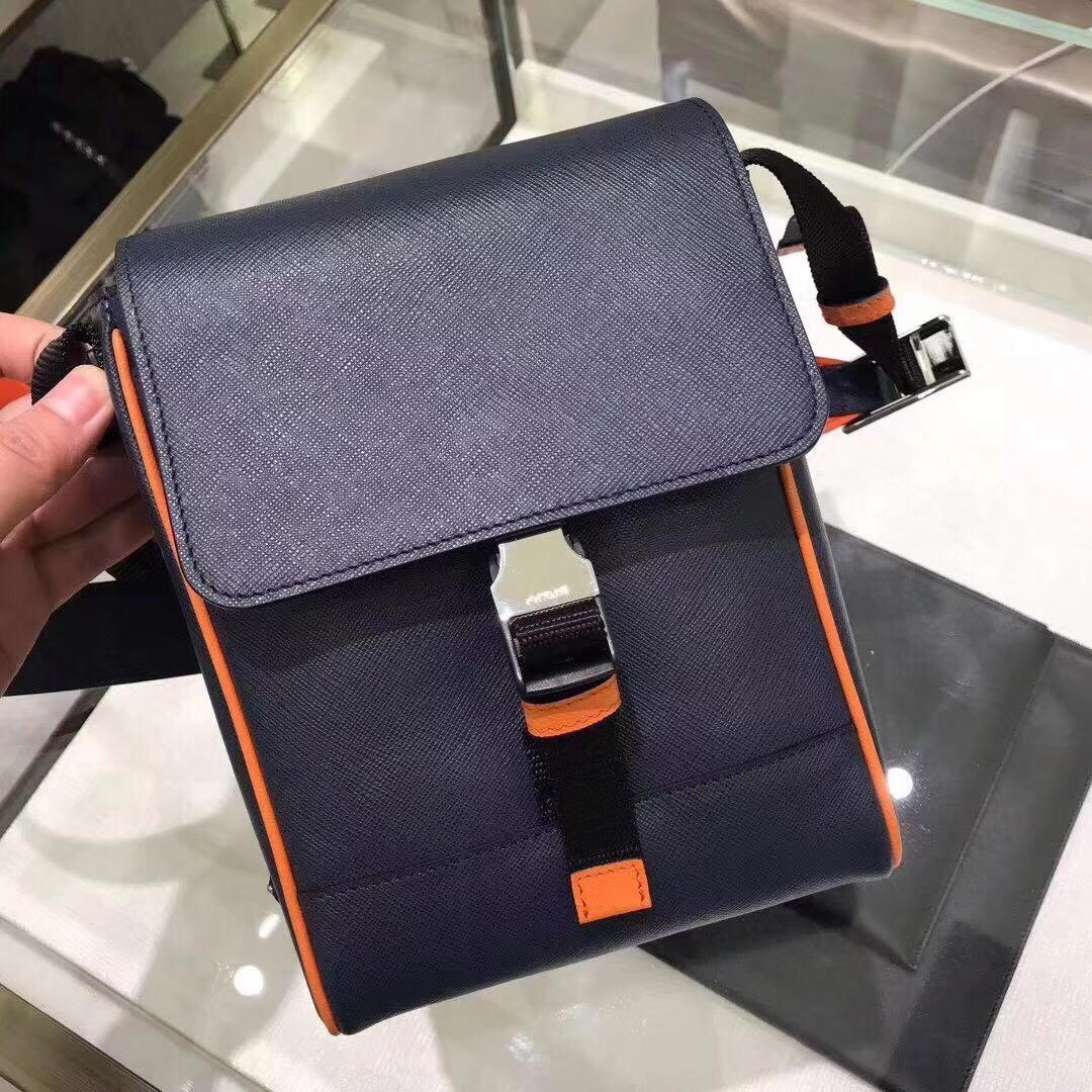Replica Prada Men Saffiano Leather Shoulder Bag Blue With Original 2VD019