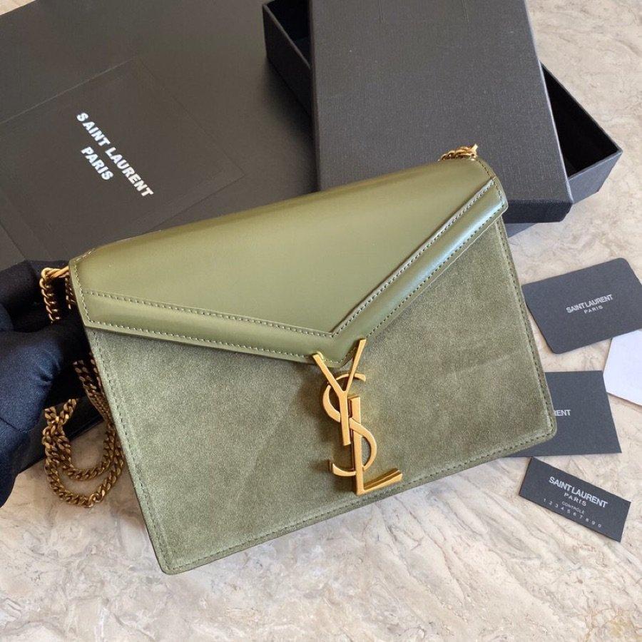 Replica Saint Laurent CASSANDRA Monogram Clasp bag in Smooth Leather Green
