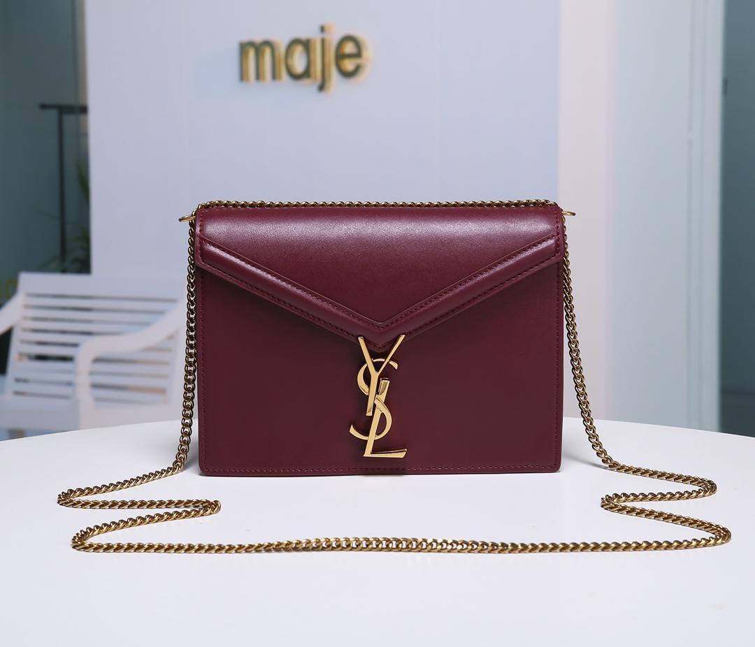Replica Saint Laurent Cassandra Monogram Clasp Bag in Smooth Leather Dark Red