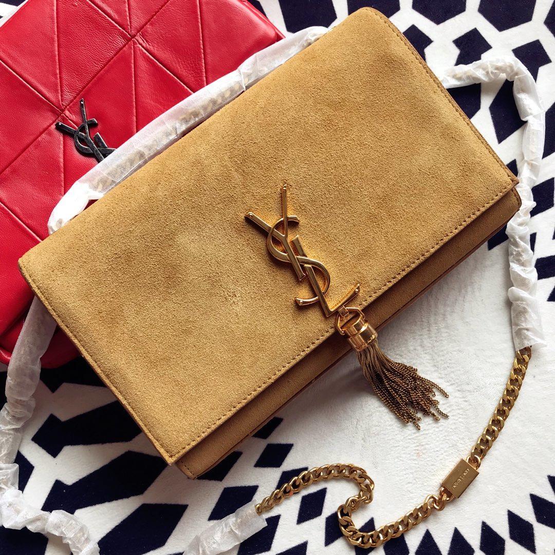 Replica Saint Laurent Kate Medium With Tassel In Authentic Leather