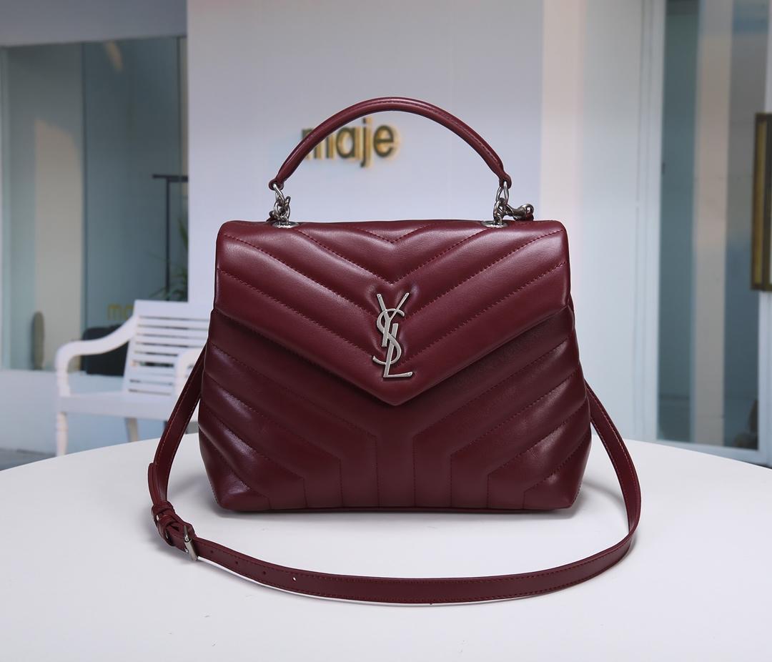 Replica Saint Laurent LOULOU Small In Matelasse Y Leather Shoulder Bag Dark Red