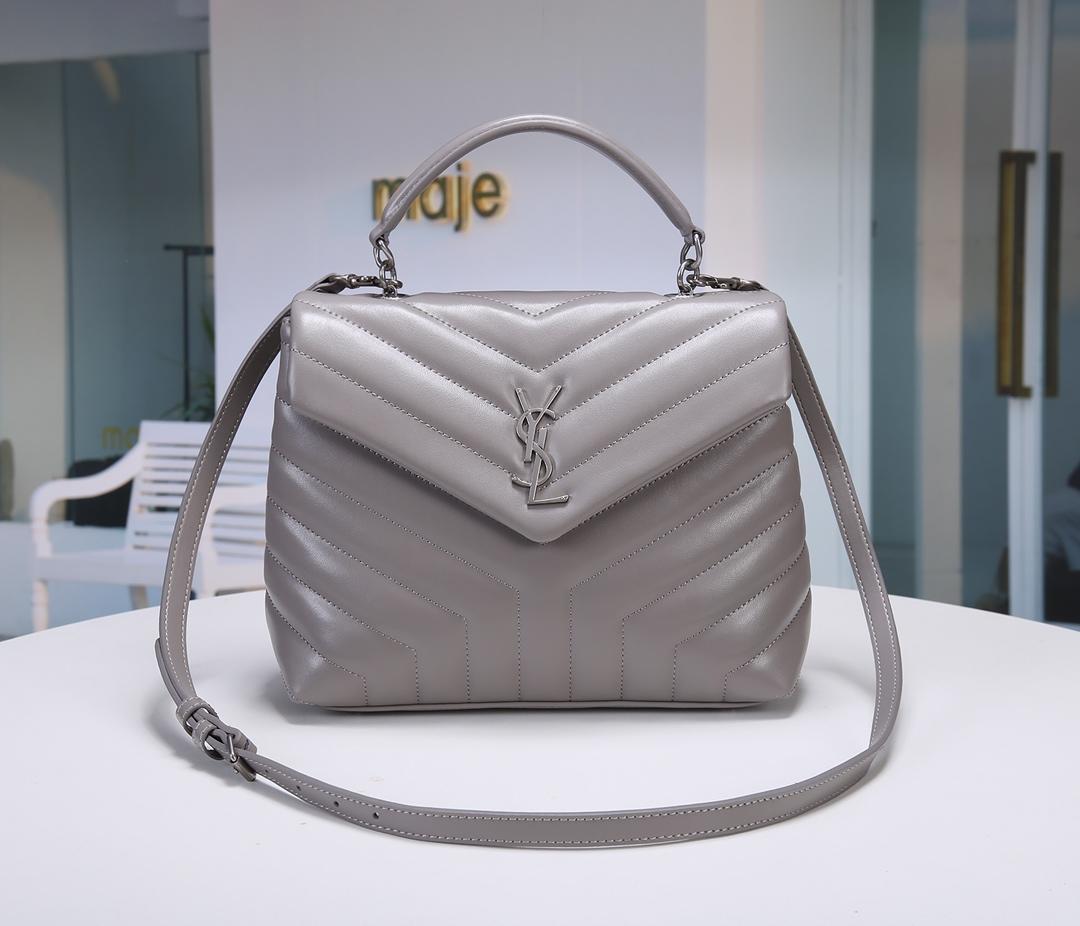 Replica Saint Laurent LOULOU Small In Matelasse Y Leather Shoulder Bag Grey