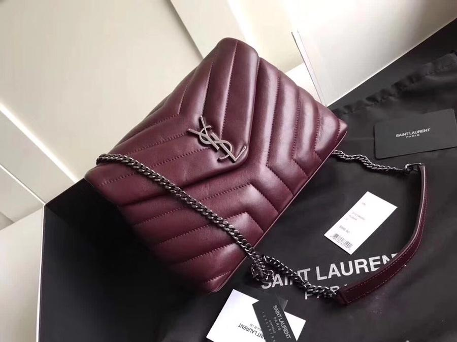 Replica Saint Laurent Loulou Small In Matelasse Y Leather Chain Strap Dark Red