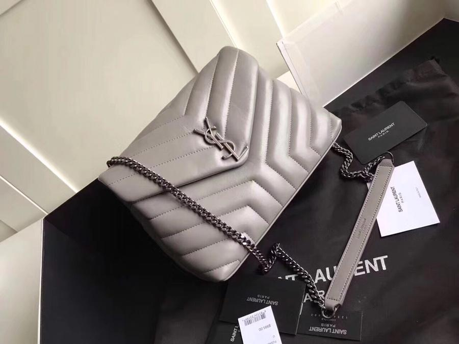 Replica Saint Laurent Loulou Small In Matelasse Y Leather Chain Strap Gray
