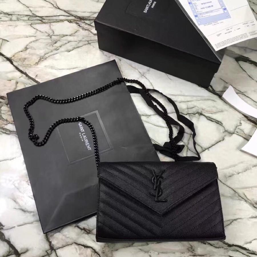 Replica Saint Laurent Monogram Chain Wallet In Grain De Poudre Embossed Leather Black With Black LOGO