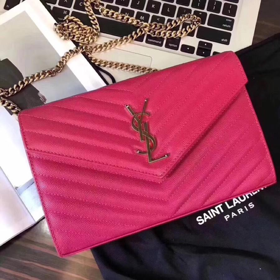 Replica Saint Laurent Monogram Chain Wallet In Grain De Poudre Embossed Leather Lipstick Fuchsia