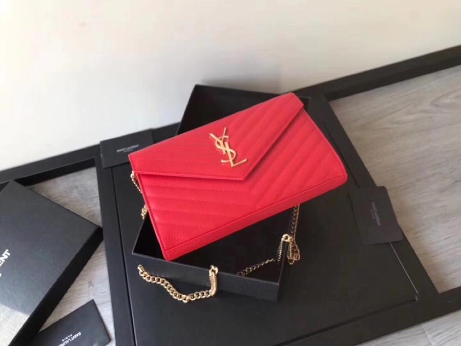Replica Saint Laurent Monogram Chain Wallet In Grain De Poudre Embossed Leather Red