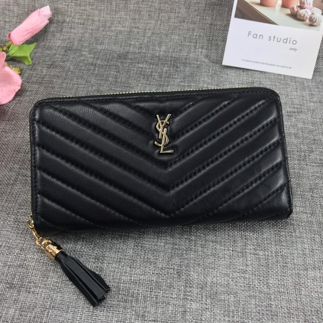 Replica Saint Laurent Monogram Wallet In Grain De Poudre Embossed Leather Black With Gold LOGO