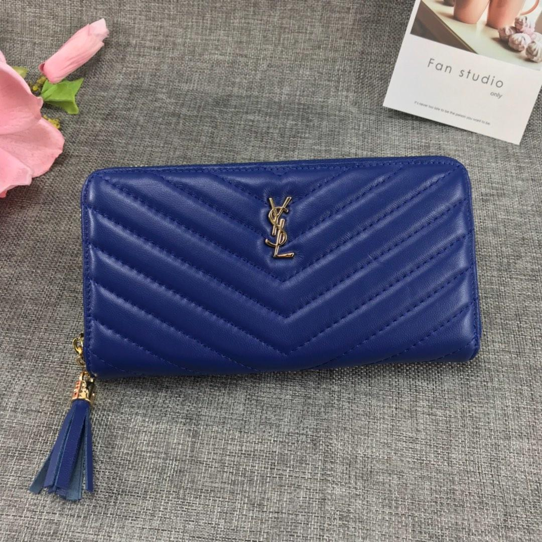 Replica Saint Laurent Monogram Wallet In Grain De Poudre Embossed Leather Blue With Gold LOGO