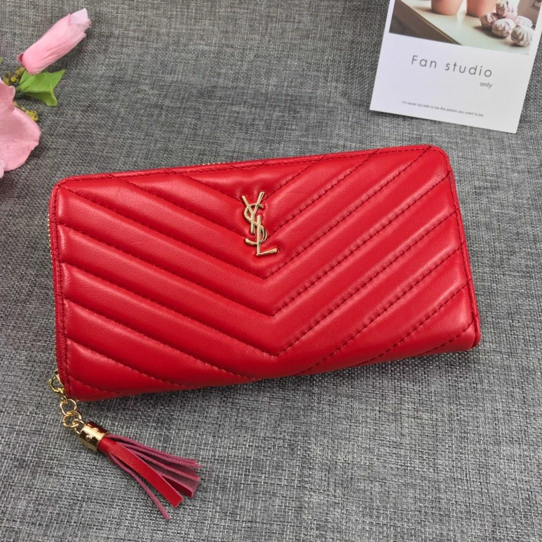Replica Saint Laurent Monogram Wallet In Grain De Poudre Embossed Leather Red With Gold LOGO
