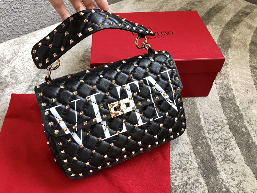 Replica Valentino Medium Garavani Rockstud Spike Chain Bag Black