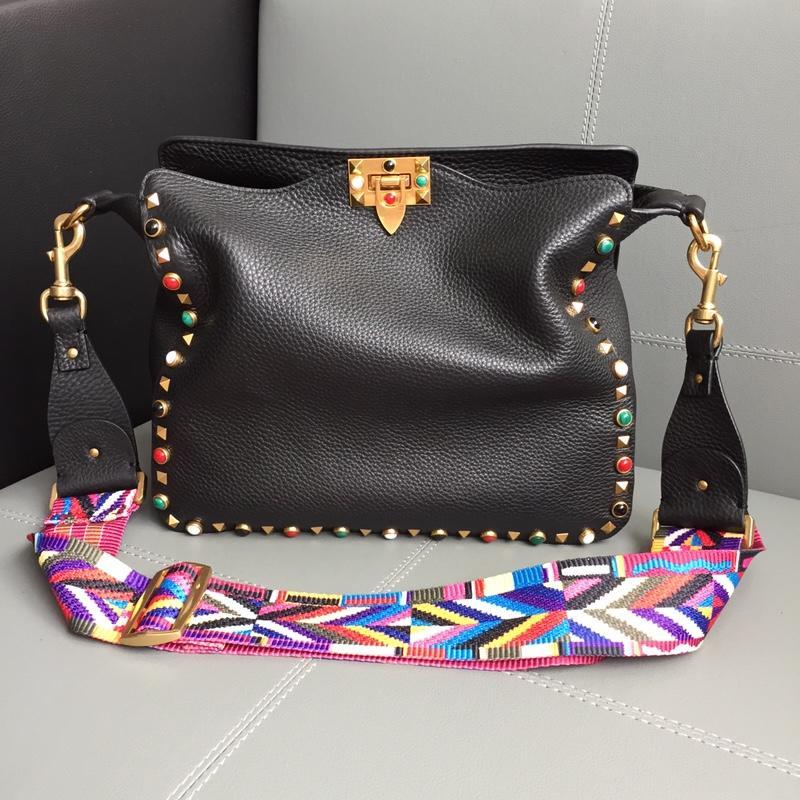 Replica Valentino Women Mini Rockstud Hobo Bag Black