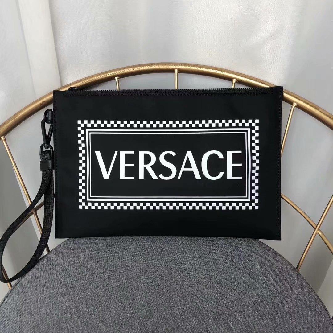 Replica Versace 2018 New Men Leather Clutch Black
