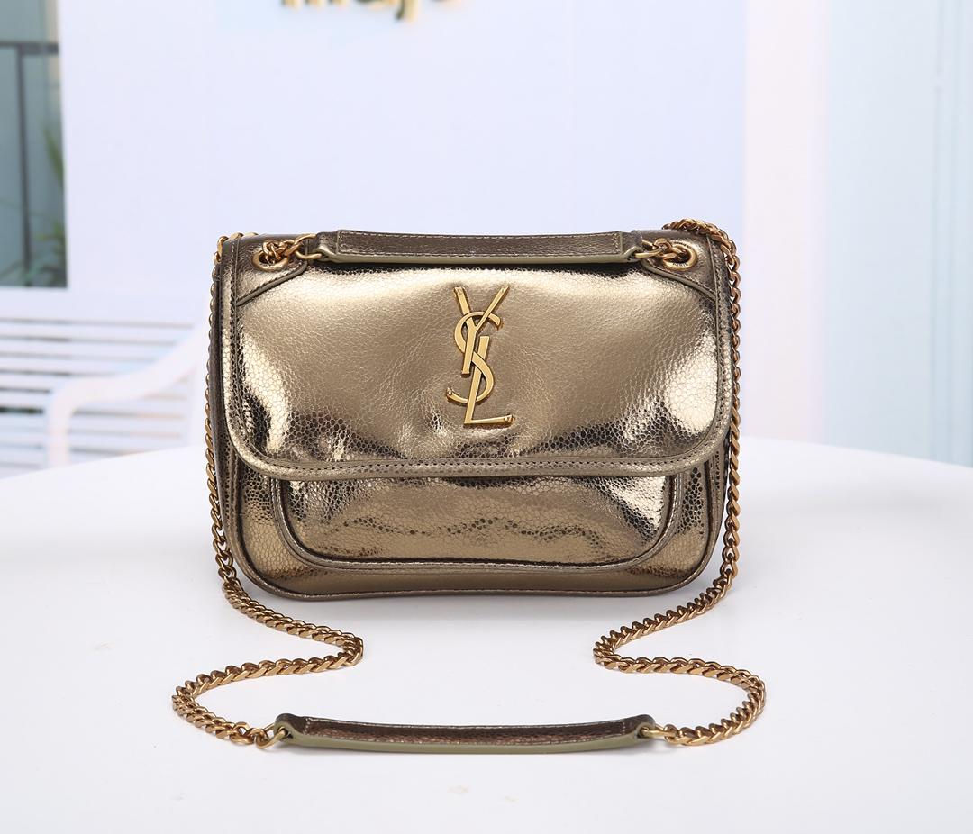 Saint Laurent Niki Baby in Lame Leather with A shogreen Look Pale Gold