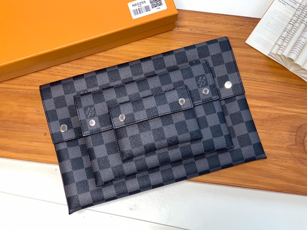 Shop Louis Vuitton Men Alpha Triple Pouches Damier Graphite N60255