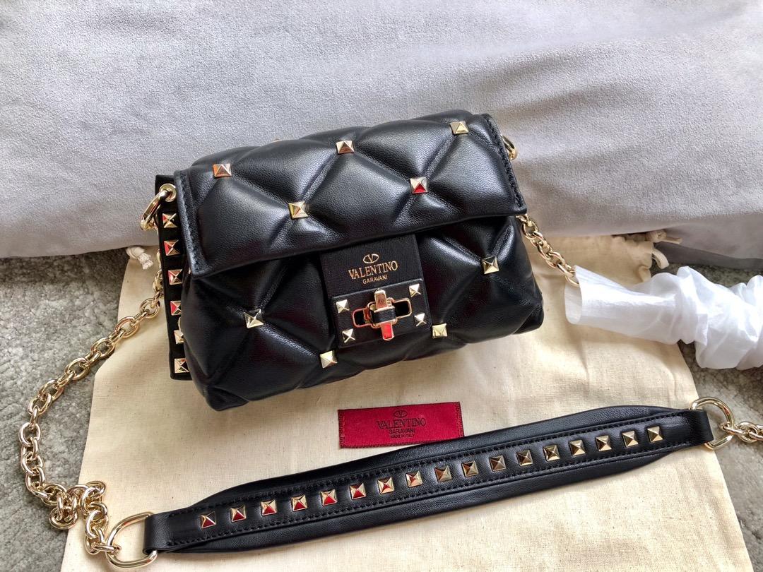Shop Valentino Garavani Minin Women Shoulder Bag Black with Gold Rivet