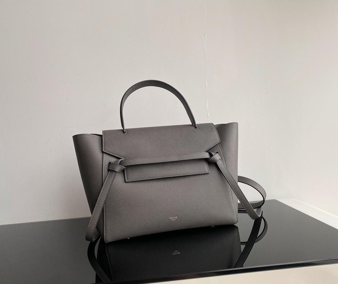 Top Copy Celine Nano Belt Bag In Grained Calfskin Gray 20cm