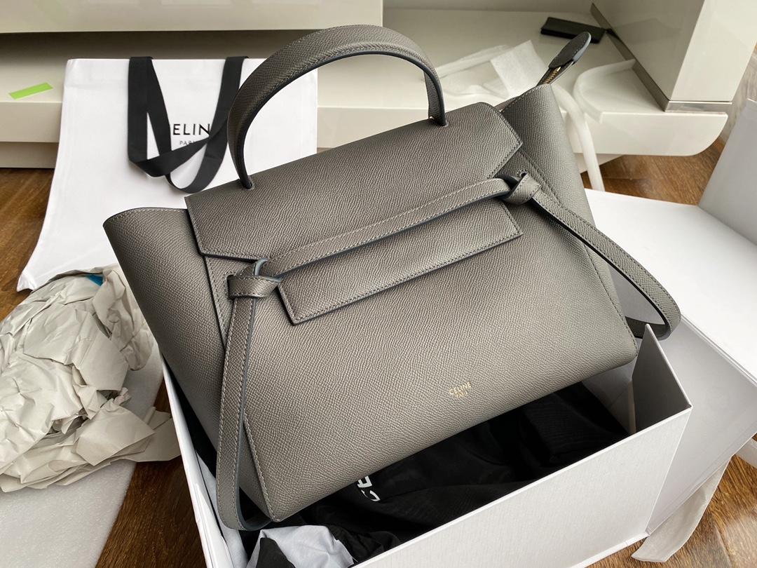 Top Copy Celine Nano Belt Bag In Grained Calfskin Gray 28cm