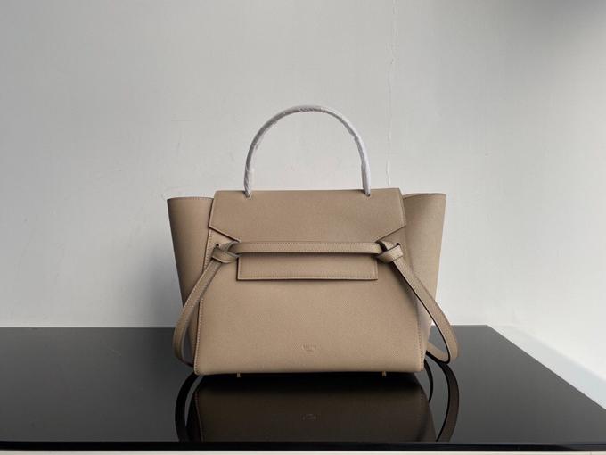 Top Copy Celine Nano Belt Bag In Grained Calfskin Light Taupe 28cm