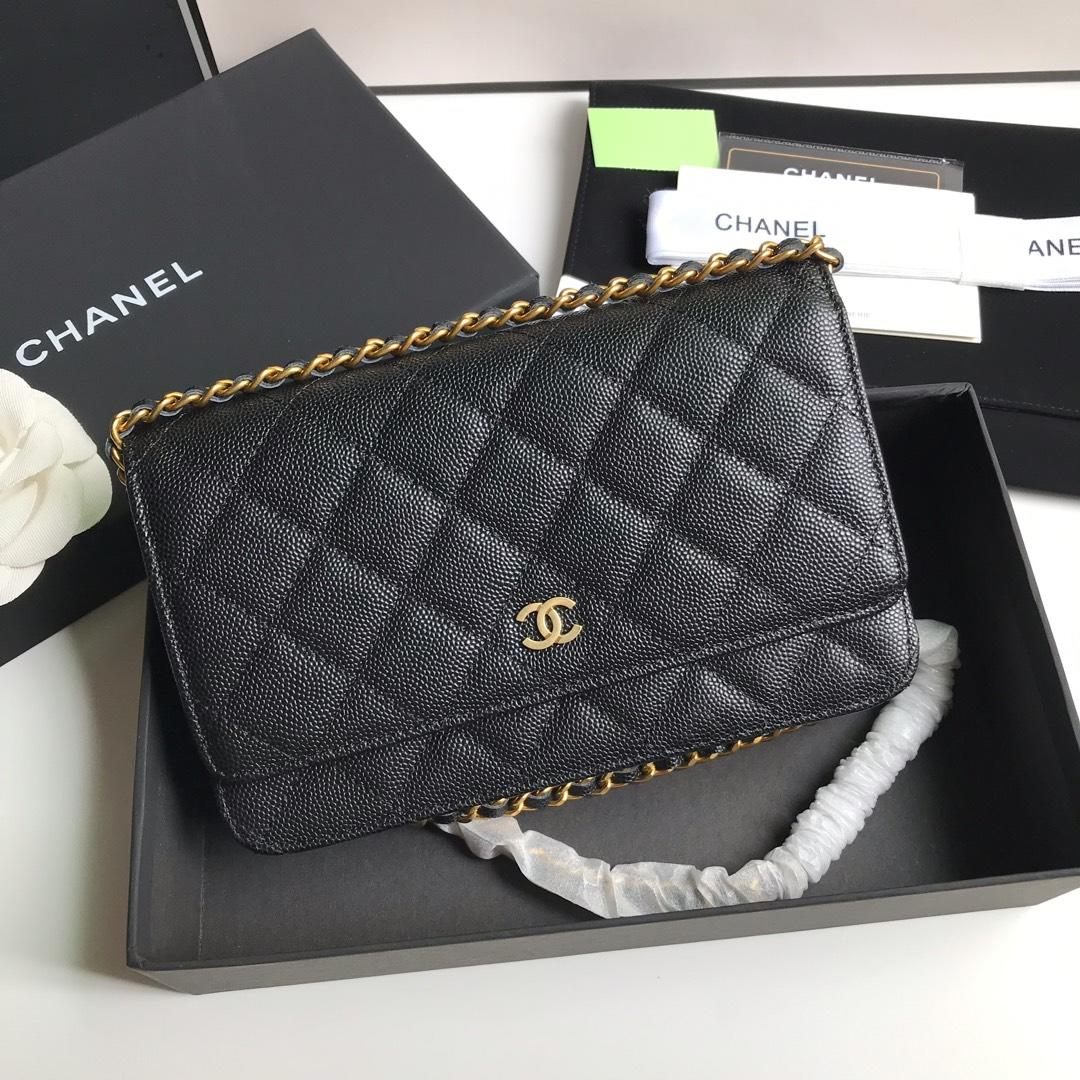 Top Quality Chanel AP0315 Woc Wallet On Chain Iridescent Grained Lambskin Gold-Tone Metal Black