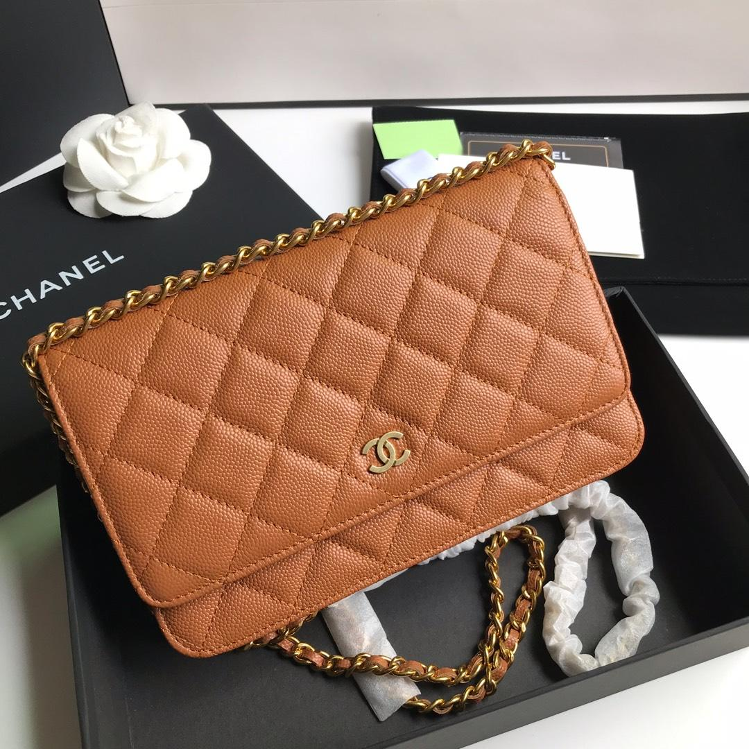 Top Quality Chanel AP0315 Woc Wallet On Chain Iridescent Grained Lambskin Gold-Tone Metal Coffee