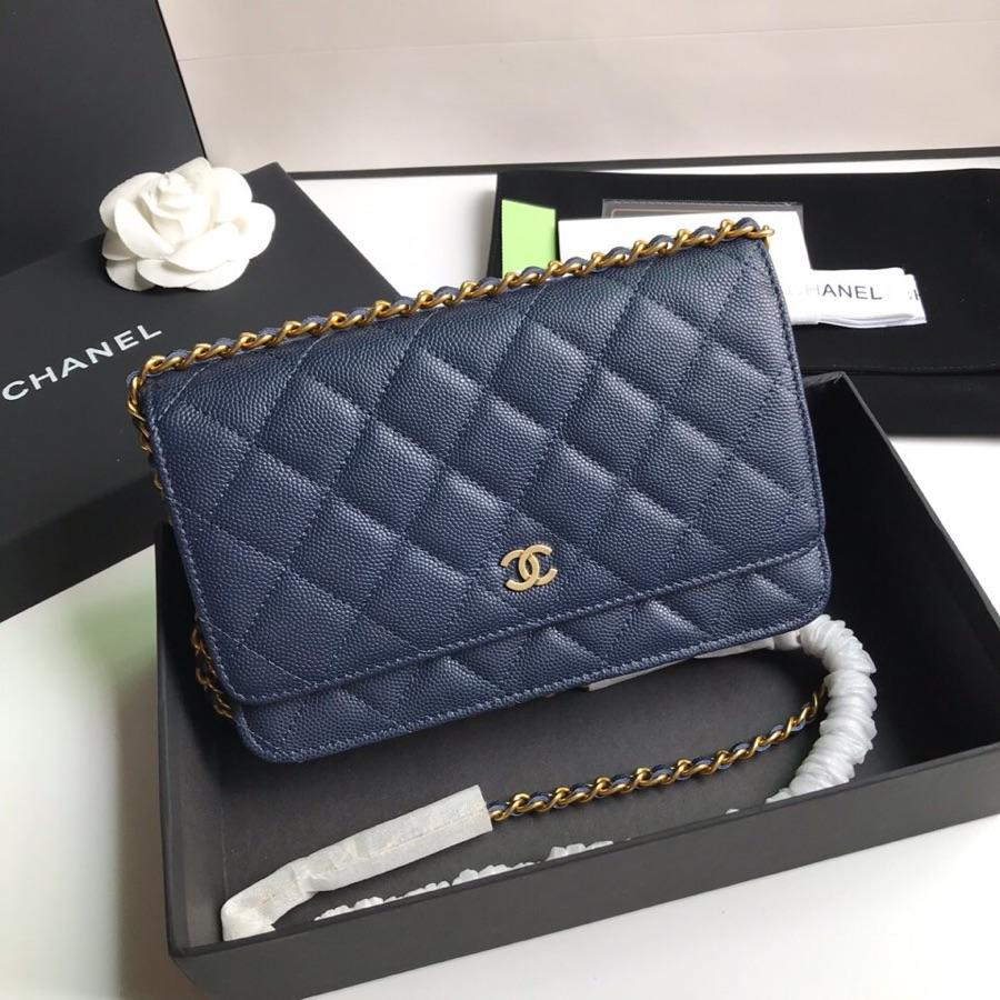 Top Quality Chanel AP0315 Woc Wallet On Chain Iridescent Grained Lambskin Gold-Tone Metal Dark Blue