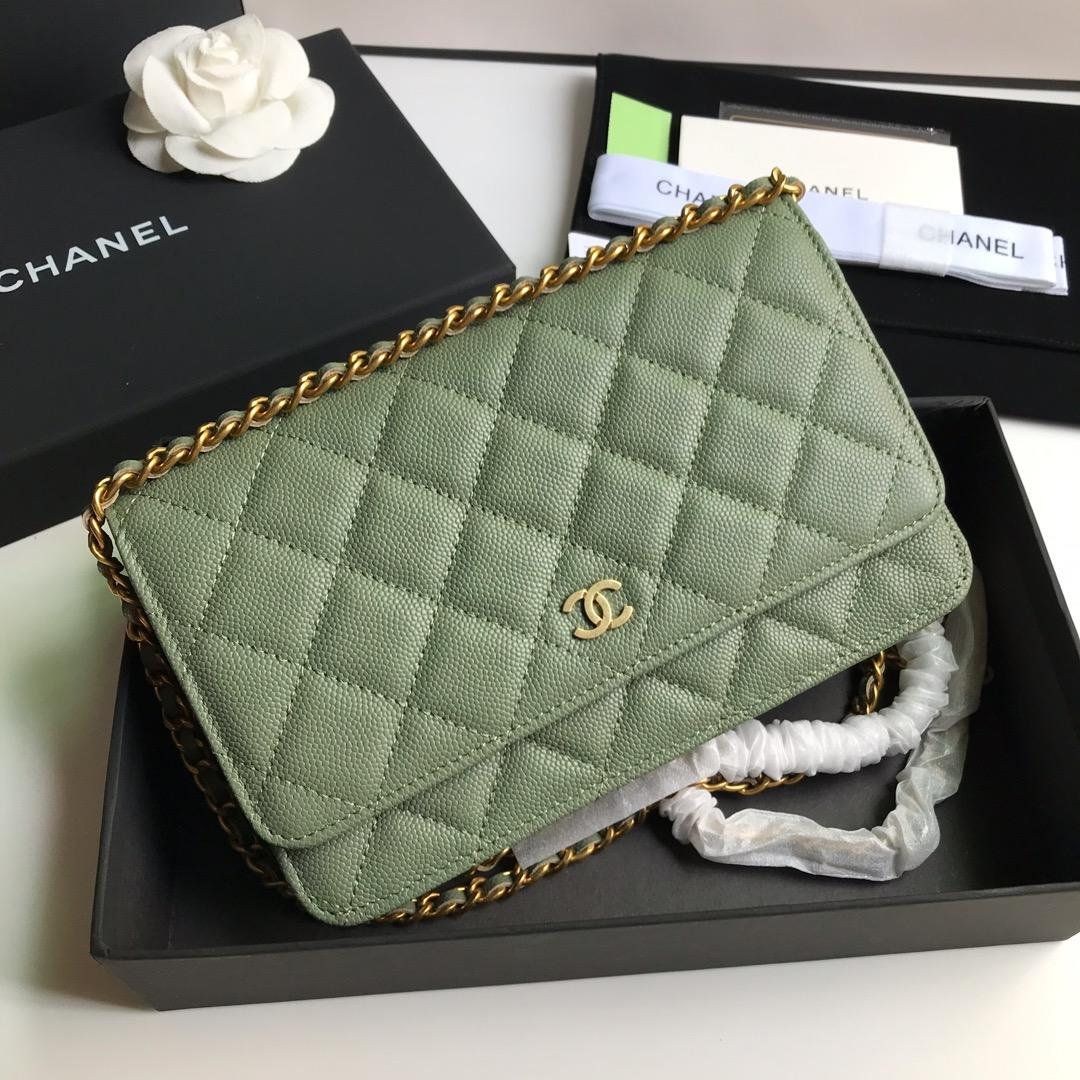 Top Quality Chanel AP0315 Woc Wallet On Chain Iridescent Grained Lambskin Gold-Tone Metal Green