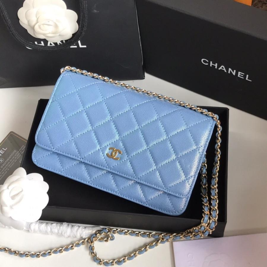 Top Quality Chanel Woc Wallet On Chain Iridescent Grained Lambskin Gold-Tone Metal Light Blue AP0315