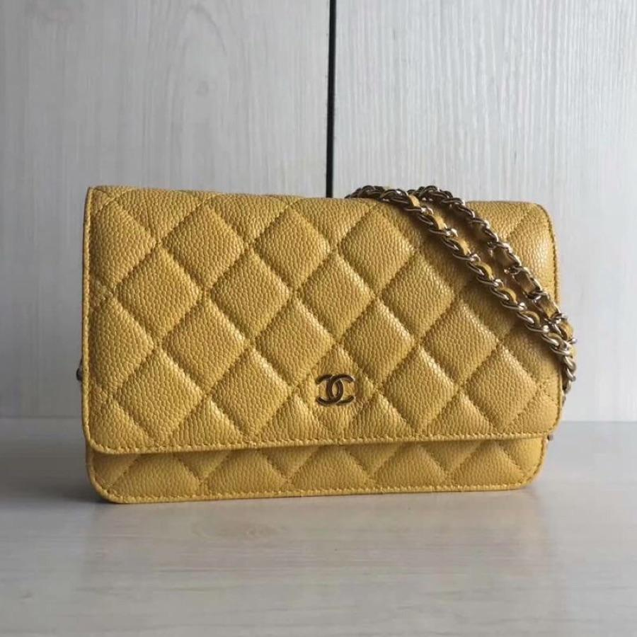 Top Quality Chanel Woc Wallet On Chain Iridescent Grained Lambskin Gold-Tone Metal Yellow AP0315