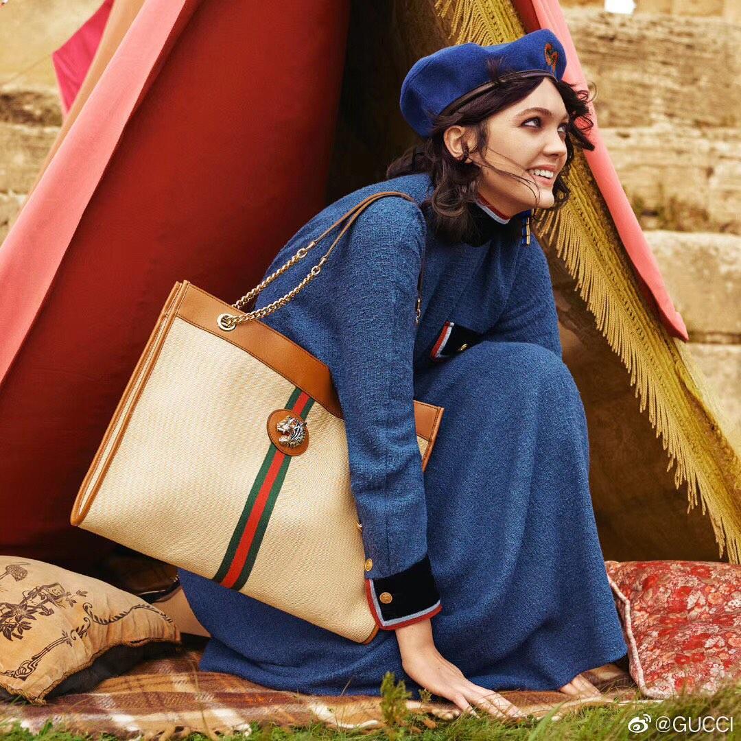 Top Quality Gucci 537219 Women Rajah Large Tote Beige Vintage