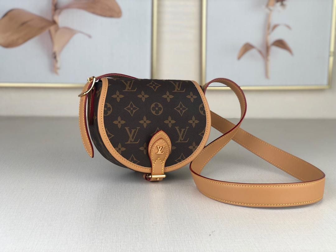 Top Quality Louis Vuitton Women Tambourin Handbag Monogram Canvas and Natural Cowhide Leather M44860