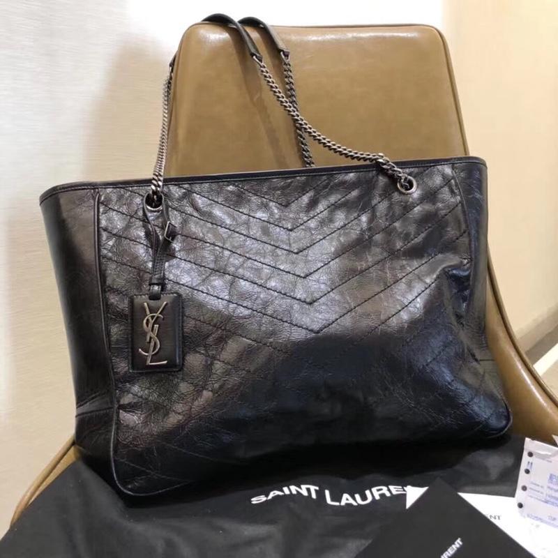 Top Quality Saint Laurent Women NIKI Shopping Handbag Black