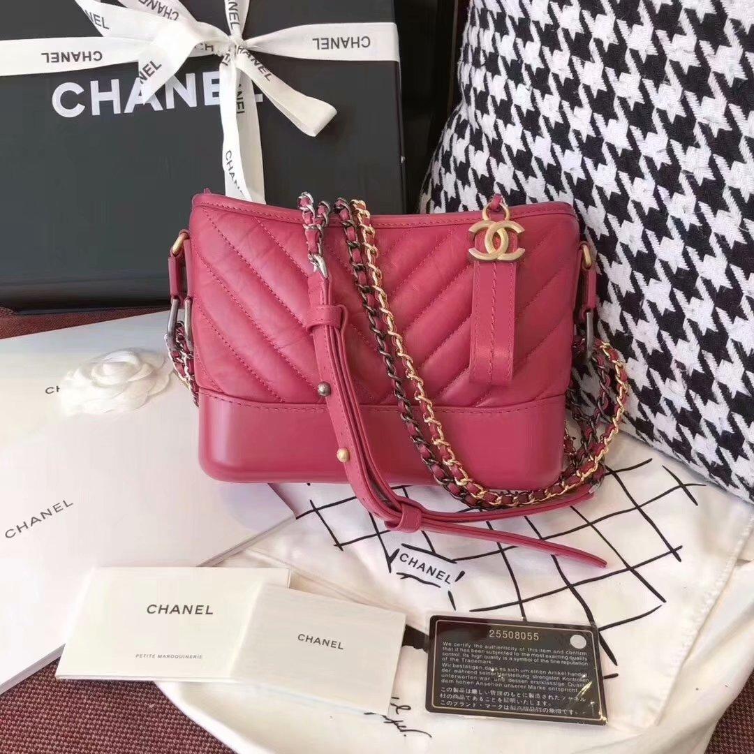 Top Replica Chanel Gabrielle Hobo Bag 20cm Aged Calfskin Smooth Calfskin Gold Tone Metal Pink