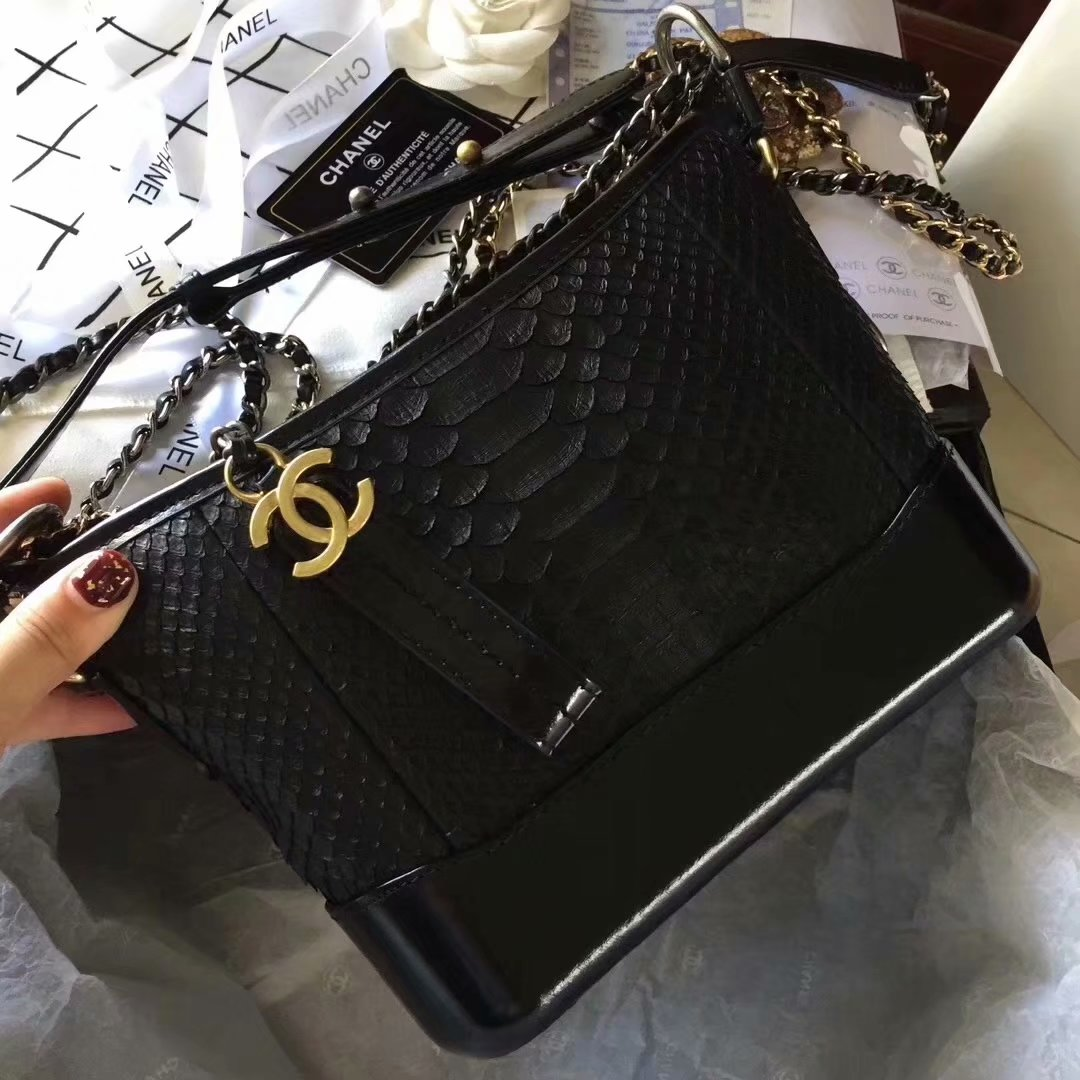 Top Replica Chanel Gabrielle Small Hobe Bag Black Python Metallic Calfskin Gold-Tone Metal
