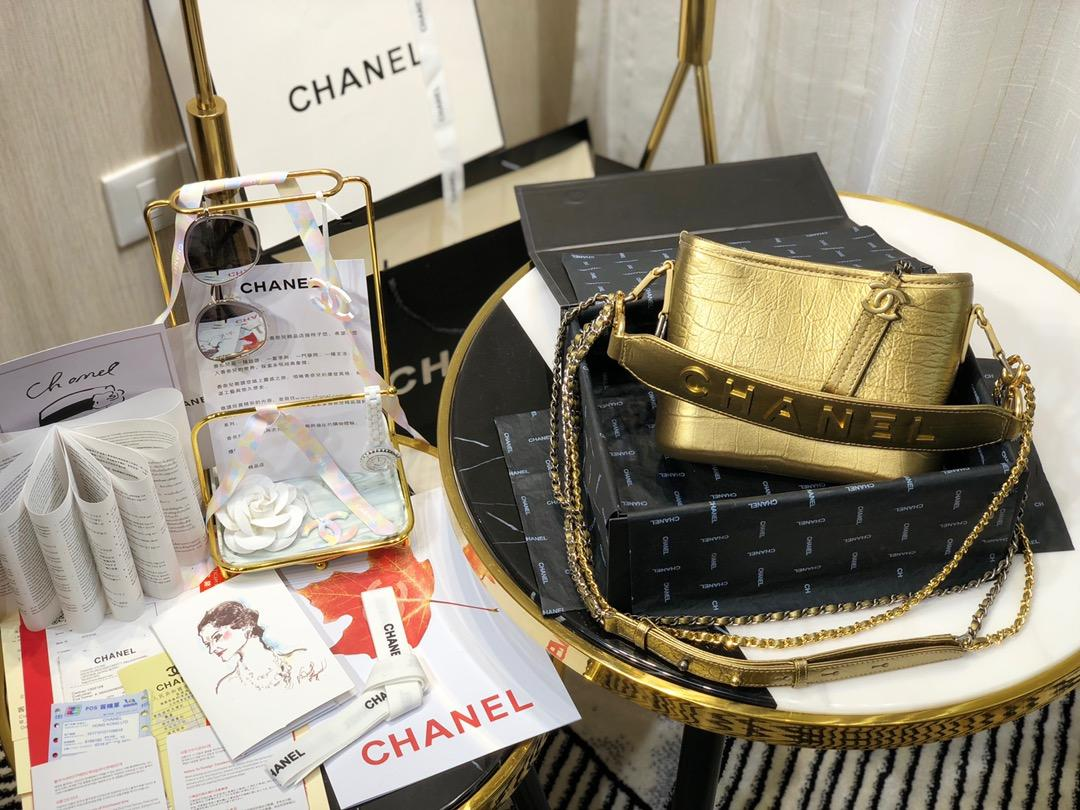 Top Replica Chanel Gabrielle Small Hobe Bag Crocodile Embossed Calfskin Gold-Tone Silver-Tone Metal AS0865