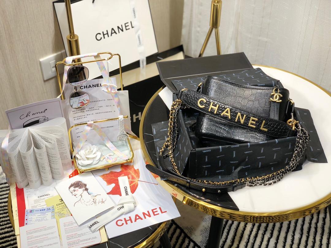 Top Replica Chanel Gabrielle Small Hobe Bag Crocodile Embossed Calfskin Gold-Tone Silver-Tone Metal Black AS0865