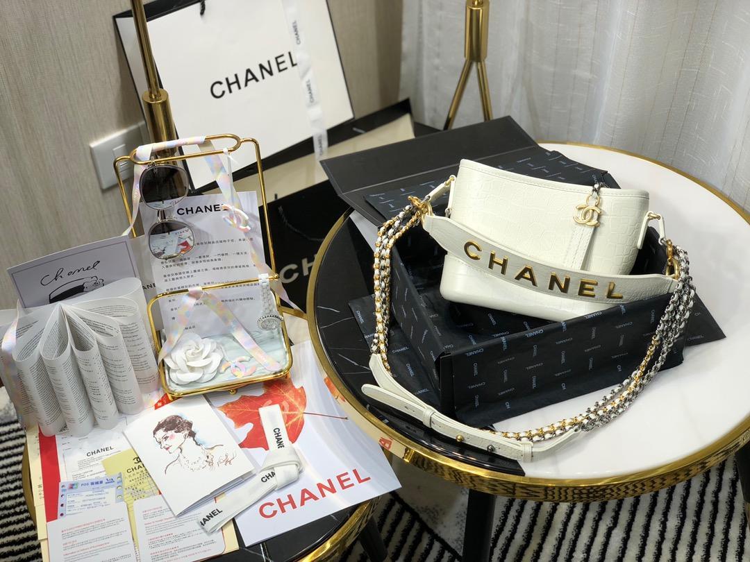 Top Replica Chanel Gabrielle Small Hobe Bag Crocodile Embossed Calfskin Gold-Tone Silver-Tone Metal White AS0865