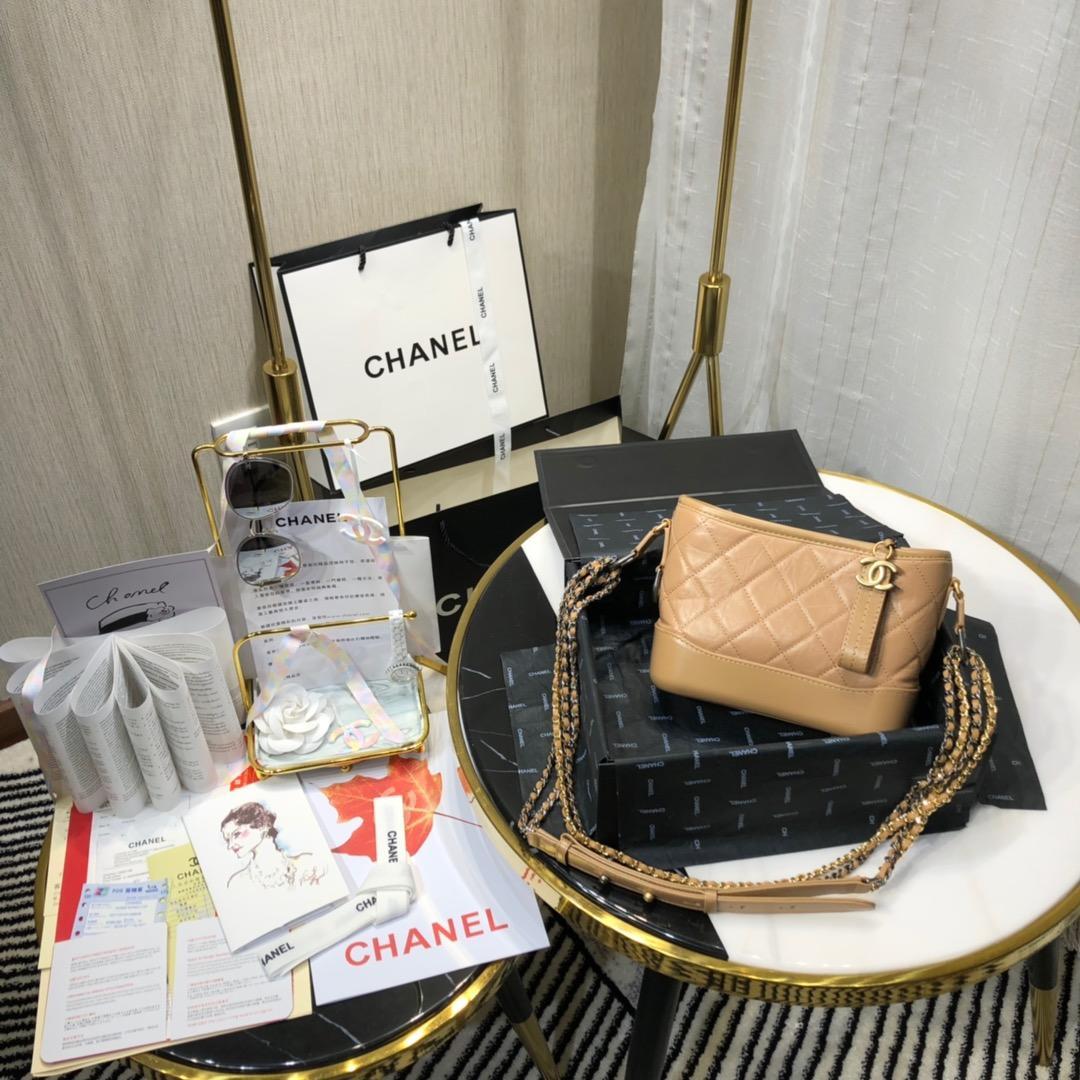 Top Replica Chanel Gabrielle Small Hobe Bag Earth-Yellow Aged Calfskin Gold-Tone Metal A91810