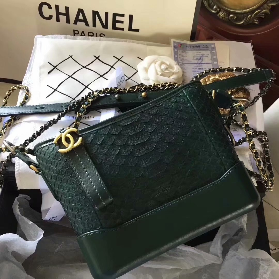 Top Replica Chanel Gabrielle Small Hobe Bag Green Python Metallic Calfskin Gold-Tone Metal