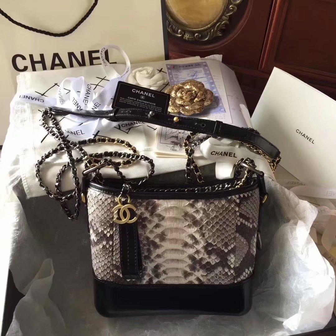 Top Replica Chanel Gabrielle Small Hobe Bag Grey Python Metallic Calfskin Gold-Tone Metal