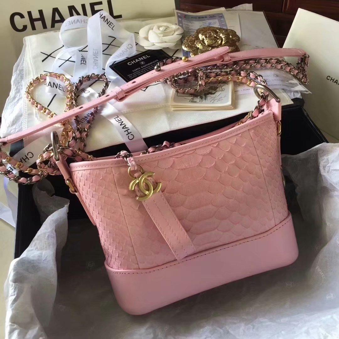 Top Replica Chanel Gabrielle Small Hobe Bag Pink Python Metallic Calfskin Gold-Tone Metal