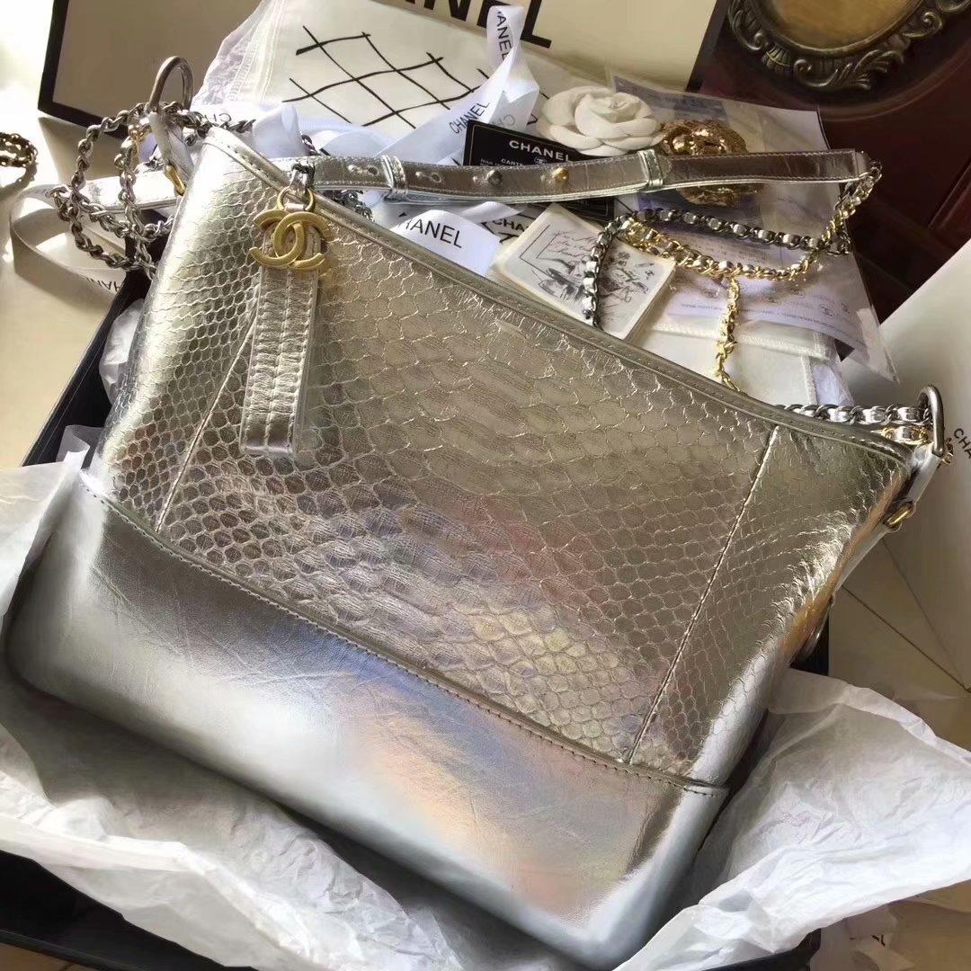 Top Replica Chanel Gabrielle Small Hobe Bag Silver Python Metallic Calfskin Gold-Tone Metal