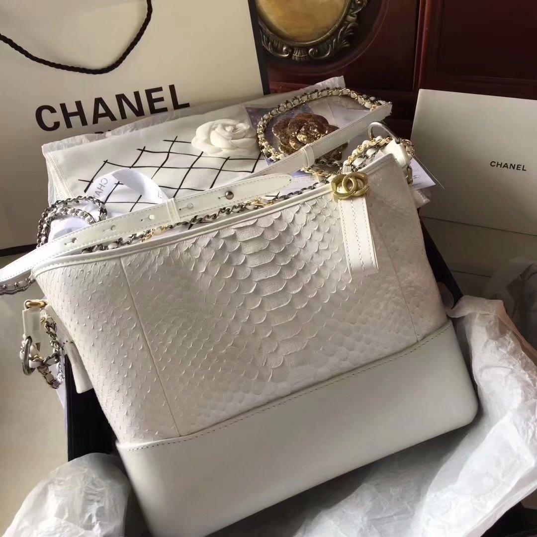 Top Replica Chanel Gabrielle Small Hobe Bag White Python Metallic Calfskin Gold-Tone Metal