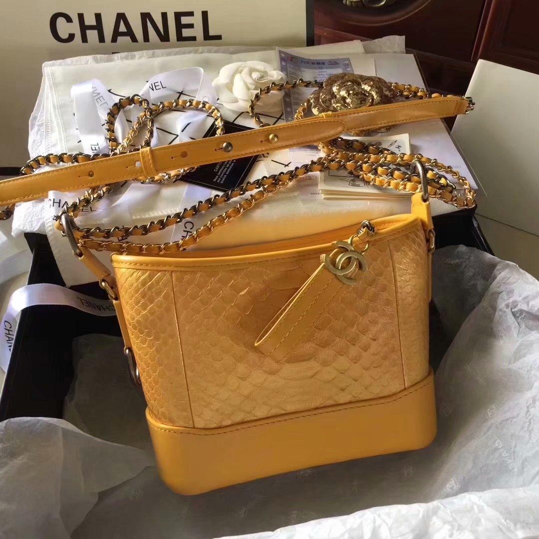 Top Replica Chanel Gabrielle Small Hobe Bag Yellow Python Metallic Calfskin Gold-Tone Metal