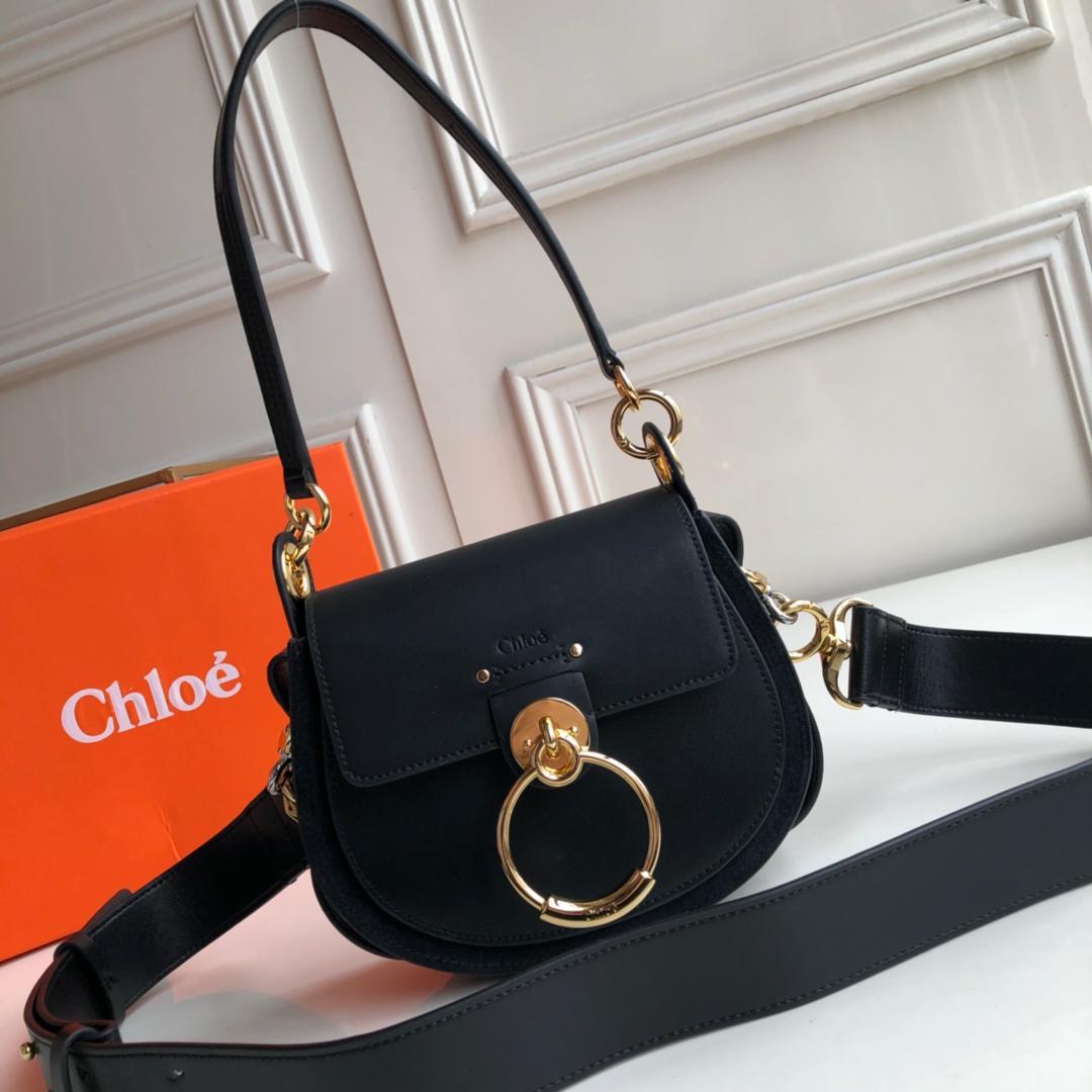 Top Replica Chloe Small Tess Bag in Shiny Suede Calfskin Black