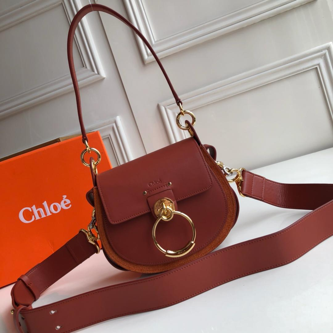 Top Replica Chloe Small Tess Bag in Shiny Suede Calfskin Brown