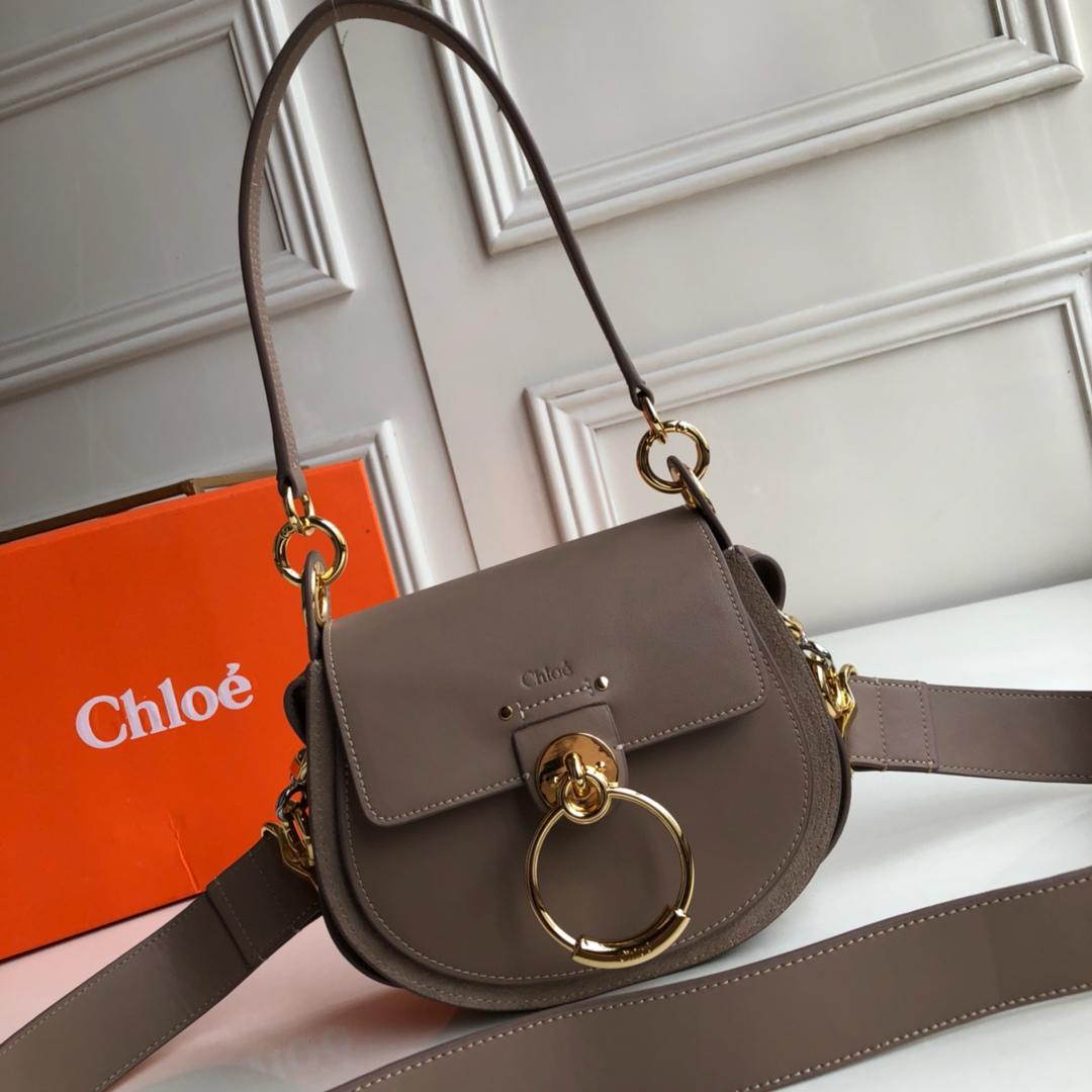 Top Replica Chloe Small Tess Bag in Shiny Suede Calfskin Grey