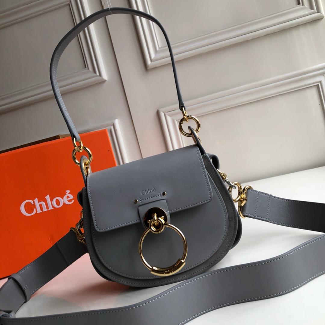 Top Replica Chloe Small Tess Bag in Shiny Suede Calfskin Light Blue