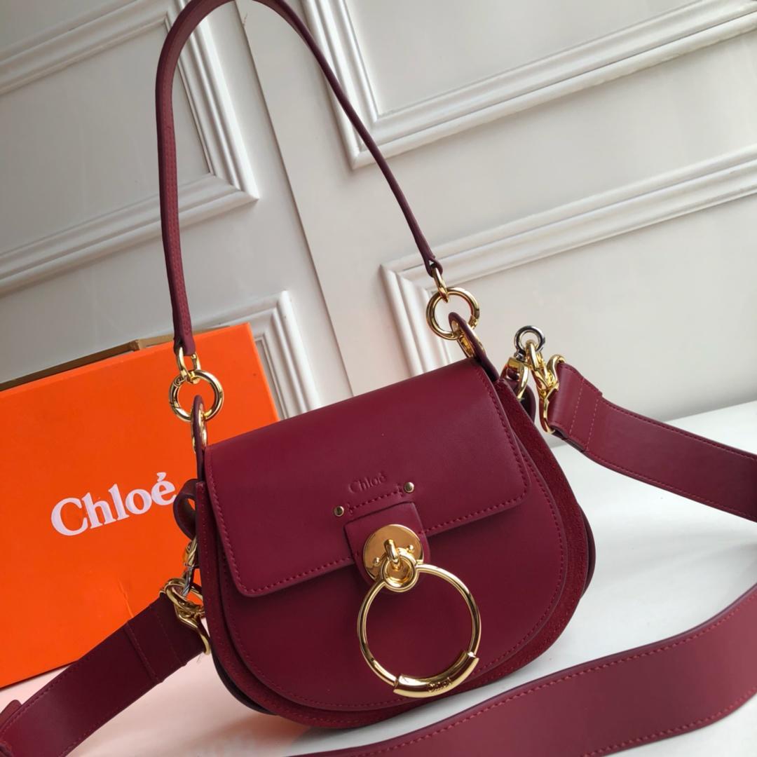 Top Replica Chloe Small Tess Bag in Shiny Suede Calfskin Rose